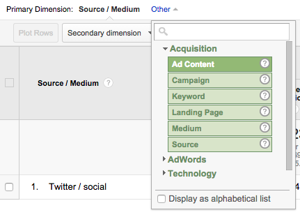 First select the 'Other' link and choose 'Ad Content' from the Acquisition group.
